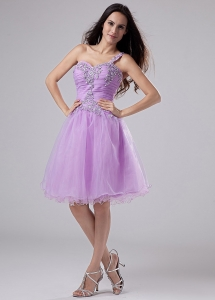 Lavender One Shoulder Prom Homecoming Dress Appliques