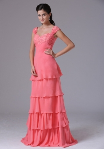 Ruffled Layeres Square Watermelon Prom Dress With Appliques