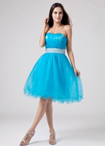 2013 Baby Blue Strapless Prom Dress With Sash and Ruch