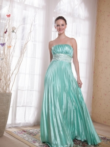Apple Green Empire Strapless Beading Prom Dress Pleats