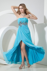 Empire Strapless Floor-length Chiffon Sequins Aqua Prom Dress