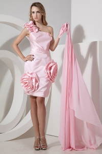 One Shoulder High-low Hand Made Flowers Baby Pink Prom Dress
