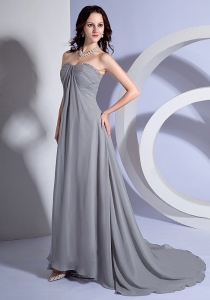 Beading Decorate Bust Sweetheart Grey Chiffon 2013 Prom Dress