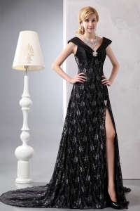A-line V-neck Chapel Train Lace Beading Black Prom Dress
