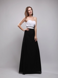 Black and White Column Sweetheart Appliques Prom / Evening Dress