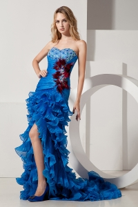 Organza Blue A-line Sweetheart Court Train Beading Prom Dress