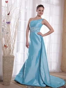 Blue One Shoulder Watteau Train Beading Prom / Pageant Dress
