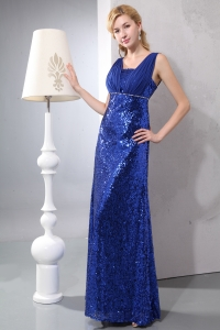 Sequins Blue Prom Dress Column with Straps Ankle-length