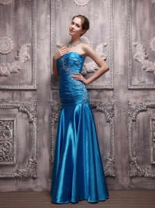 Blue Column Sweetheart Taffeta Beading and Ruch Prom Dress