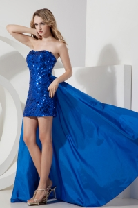 Blue Column Sweetheart Mini-length Sequin Detachable Prom Dress