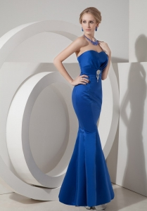 Mermaid Sweetheart Ankle-length Taffeta Beading Blue Prom Dress