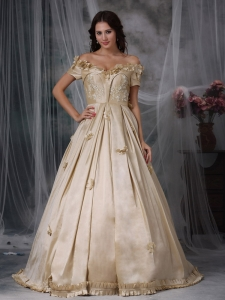 Champagne Off The Shoulder Hand Made Flowers Prom / Evening Dress