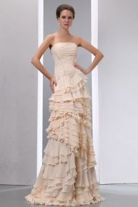 Champagne Prom Dress Column Strapless Brush Train Chiffon Ruffles