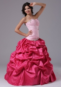 Coral Red and Rose Pink For Prom Dress with Ruched Bodice Beading