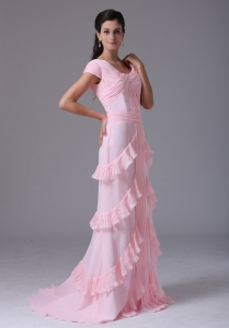 Custom Made Pink Scoop Short Sleeves Prom Dress Ruffed Layeres