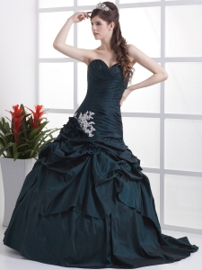 Custom Made Navy Blue Sweetheart Appliques and Pick-ups Prom Dress