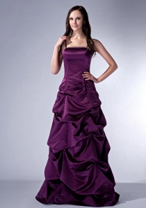Spaghetti Straps Dark Purple Satin Beading Prom Dress