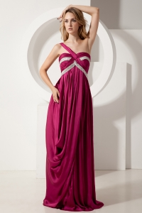 Fuchsia One Shoulder Silk Like Satin Beading Prom / Evening Dress