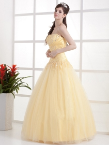 Beautiful Gold Strapless Prom Dress Appliques and Ruch