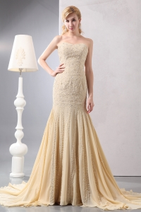 Gold Mermaid Sweetheart Chiffon Beading and Sequins Prom Dress