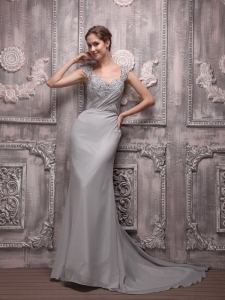 Empire V-neck Brush Train Beading Gray Prom / Evening Dress