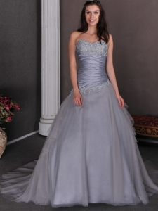 Prom Gown Grey Sweetheart Court Train Taffeta Tulle