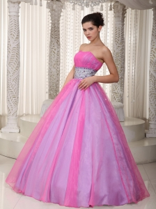 Hot Pink Strapless Floor-length Organza Beading Prom Dress