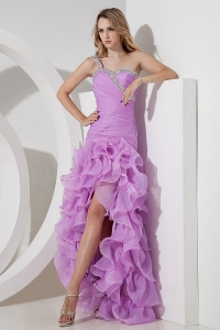 One Shoulder High-low Organza Beading Lavender Prom Dress
