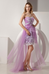 Lilac High-low Strapless Prom Gown Tulle Appliques