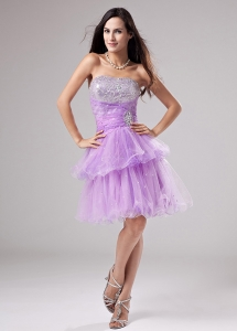 Lavender Prom Dress With Beading and Ruch With Organza