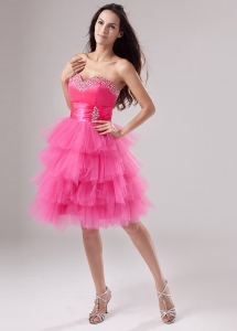 Pink Prom Dress Ruffled Layeres Sweetheart Beading and Ruch
