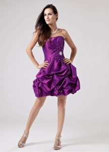 Eggplant Purple Prom Cocktial Dress With Beaded Decorate and Ruch