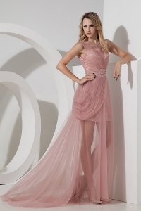 Column Bateau Brush Train Tulle Beading Pink Prom Dress