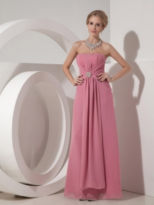 Column Strapless Floor-length Chiffon Beading Pink Prom Dress