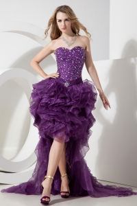 Sweetheart High-low Organza Beading Purple Prom Dress