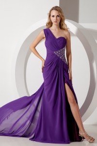 One Shoulder Purple Column Watteau Train Beading Prom Dress