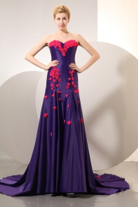 Sweetheart Count Train Purple Hand Made Flowers Prom Dress