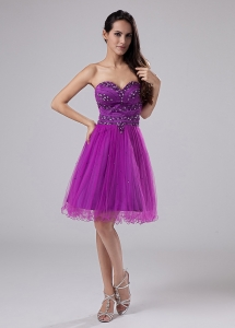 Purple Sexy Prom Dress With Beaded Decorate Sweetheart