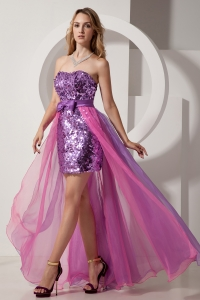 Purple and Pink High-low Prom Dress Strapless Sequin