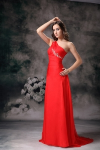 One Shoulder Brush Train Chiffon Appliques Prom / Evening Dress