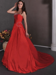 Red One Shoulder Court Train Appliques Prom Dress