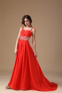 Red Wide Straps Court Train Chiffon Beading Prom Dress