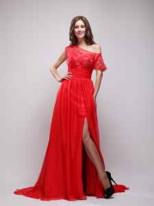 Red Asymmetrical Brush Train Chiffon Appliques Prom / Evening Dress