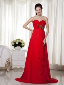 Red Sweetheart Brush Train Appliques and Ruch Prom / Celebrity Dress