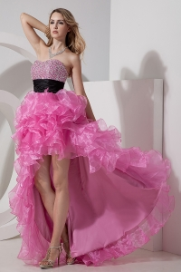 Rose Pink Sweetheart High-low Organza Beading Prom Dress