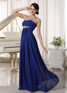 Royal Blue Chiffon Evening Formal Gowns Beaded