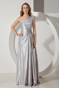 Silver Column One Shoulder Taffeta Beading Prom Dress