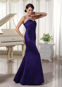 Evening Dress Dark Purple Ruch Sweetheart Taffeta
