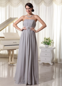 Grey Empire Celebrity Dress Ruch and Beading Chiffon
