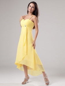 Yellow Spaghetti Straps Prom Dress Beading Ruch Chiffon